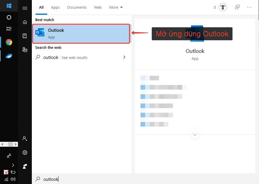 Mở ứng dụng outlook