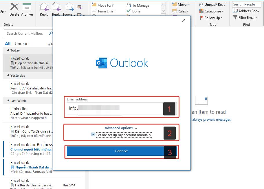 Nhập Địa Chỉ Mail vào Outlook