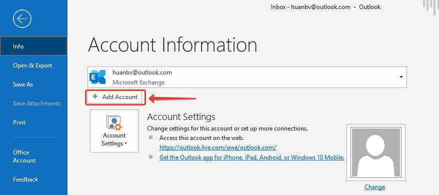 Thêm Tài Khoản Email Outlook